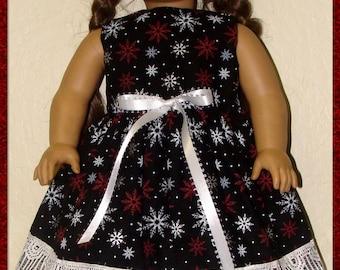 "Black Sleeveless Dress w/White & Red Snowflakes Handmade for the 18"" American Girl Doll"