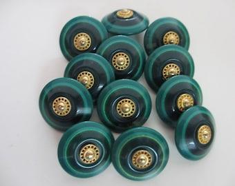 12 Vintage Retro 22 mm Green Blue Circle Design Plastic Button with Gold Tone Center Design