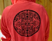 Celtic Dog Mandala Hoodie. Snuggly Warm. Red. Size L Screen Printed Men