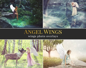 """Wings photo overlays """"Angel Wings"""", wings and feathers photo overlays, photo overlays for Photoshop"""