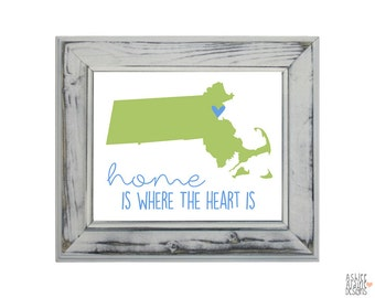 Massachusetts State Art Print - 8x10 Illustration Home Decor Print - Home Is Where The Heart Is