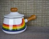 Vintage Fondue Pot, Rainbow Design, Mod 70's Kitchen Ware, Retro Entertaining