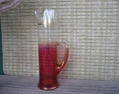 Vintage Glass Pitcher, Red Ombre Glass, Festive Entertaining, Cranberry Glass