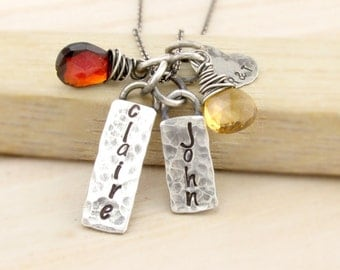 Personalized Mom Necklace Hand Stamped Jewelry Personalized Jewelry New Mom Mothers Day Birthstone Necklace Antiqued Silver Family Necklace