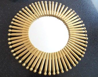"""18 """" Sunburst Mirror With Golden Upcycled Clothespins"""