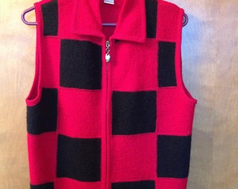 Red and Black boiled wool vest.