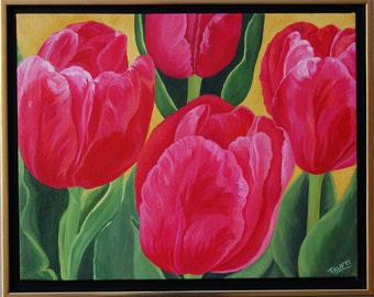 ORIGINAL Oil Painting-Tulips-Beauty of Spring Art by Trupti