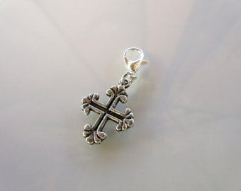 Gothic Cross Clip-On Charm Tibetan Silver with silver lobster clasp--zipper pull, charm bracelets, necklace charm purse charm, key fob charm