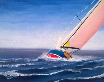 Sailboat in Rough Sea - Oil on Canvas Panel - 8 x 10 inches