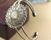 2PCS Antique bronze 36mm Bracelets with round hollow out filigree componnets- X07381