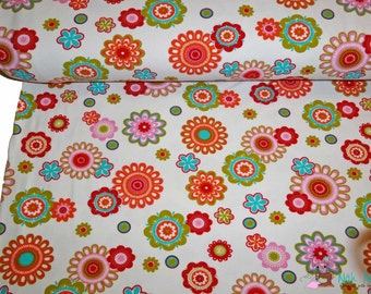 0,5 x 1,50 m cotton knit fabric FLOWERS jersey, 95/5% cotton/spandex, white, multicolour