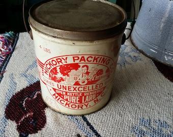 Vintage Hickory Packing Company 4 Pound Tin Lard Container - Hickory, North Carolina