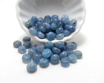 Angelite smooth rondelle beads - 10mm - 1/2 strand (33) beads