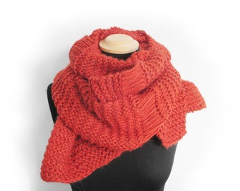 Knit red chunky wool scarf for women, womens scarves