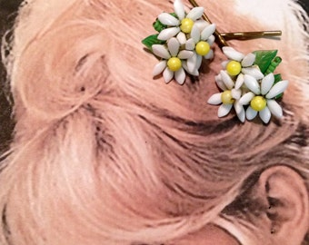 Decorative Hair Pins West Germany 1940's Daisy Flower Bobby