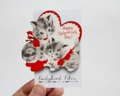 Vintage Valentine Kittens Brooch