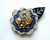 Felt Flower Pin Brooch for Women Jewelry Re-purposed Blue Gold Black Bronze