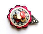 Felt Flower Pin Brooch for Women Jewelry Re-purposed Fuchia Blue Pink Grey