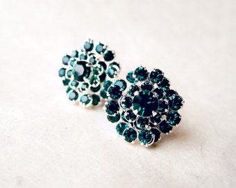 Emerald Statement Earrings, Large Swarovski Crystal Earrings, Emerald Green Studs,  1920s Wedding Theme, Rhinestone Cocktail Earrings
