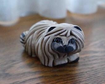 Cute Shih Tzu Dog Sculpture from the Artesania Rinconada Collection -- Vintage Pottery Made in Uruguay -- Sweet Handmade Ceramic Figurine