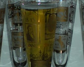 Vintage Mid Century Sophisticated Mad Men Style 'Old Tavern Inn Signs' Pilsner Beer Glasses Set Of 8 Libbys