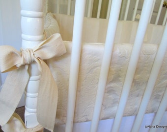 Neutral Crib Bumper: luxury baby bedding,  reversible  bumper pad, Oatmeal & Cream cotton luxe collection, Custom Made to Order