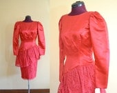 1970s Vintage Sylvia Ann Red Satin and Lace Cocktail Party Dress size 8 (S) bust 34