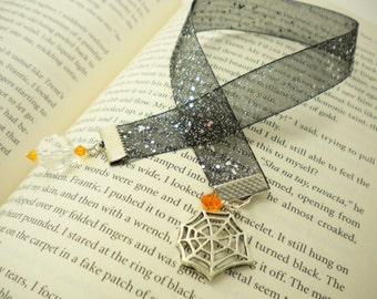 Halloween Bookmark with Spider Web Charm, Silver-Speckled Black Sheer Ribbon, Trick-or-Treat