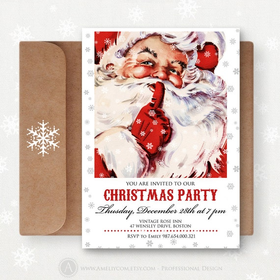 Items Similar To Printable Christmas Invitations Party
