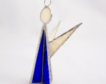 Stained Glass Angel Christmas Ornament 3D Cobalt Blue With Cream
