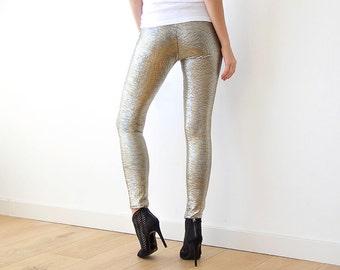 Metallic gold sparkling leggings, Metallic tights 3012