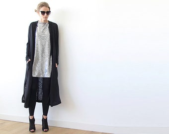 Knitted maxi black cardigan with pockets , Black maxi knit coat 2012.