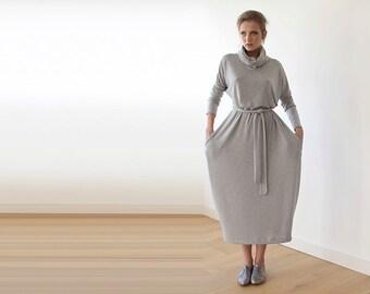 Roll neck maxi dress, Turtle-neck maxi gray dress, Light gray maxi Knitted dress, Leisure dress 1039