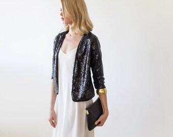 Sequin sparkling black Jacket , Long sleeves sparkling jacket 2014