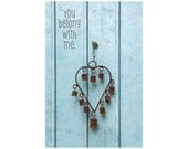 You Belong to Me, Sky Blue Door Photo, Rusted Heart, Wedding Gift, Inspirational Print, Robin's Egg Blue, Valentine's Day