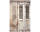 Paris Shutters Photo, Black and White, Urban Shabby Chic, Travel Photography, French Cream, Ivory Beige, Rustic Wood