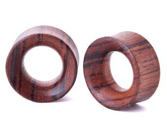 """3/4"""" Pair Red Zebra Wood Beveled Hollow Plugs - Dunnygun Body Piercing Jewelry Gauge Earrings"""