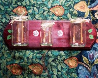 Rustic mason jar organizer wall shelf
