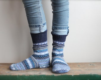 Women's Felted Wool Slippers/ Cabin Socks, Wool Slippers,Leather Soled Slippers