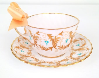 Vintage English Bone China Gladstone Scroll Pattern Tea Cup and Saucer Tea Party