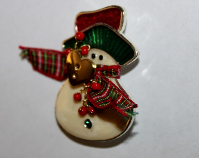 Vintage Silver-Tone Christmas Snowman, Christmas Brooch