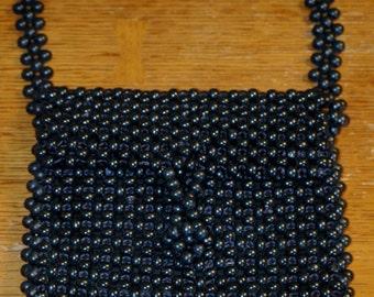 Vintage Mod Black Wooden Bead Handbag...Japan