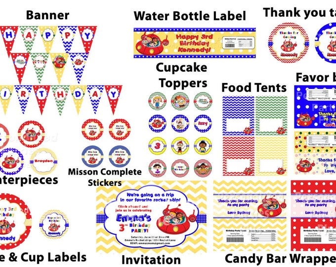 Little Einsteins birthday party pack: banner, cupcake toppers, water bottle labels, plates, cups, and more
