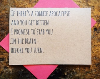 "Funny Valentine's ""Zombie Promise"" Love Anniversary Wedding Rustic Walking Dead"
