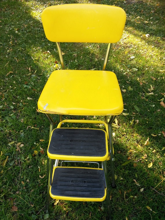 Vintage Cosco Yellow Step Stool Chair