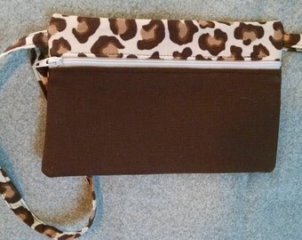 Animal Print/Brown Wristlet cell phone case