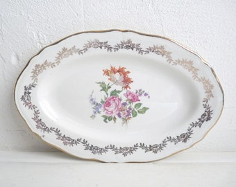 Vintage SERVING TRAY, Cream with Beautiful Bunch of Flowers, Oval shaped Ceramic Plate. Stamped  L'Amandinoise.