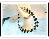 Vintage Black & White Lucite Bead Double Stranded Necklace   Neck-1256e-082912006