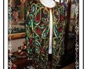 Beads n Sequins Jacket - Sizzling Vintage 1980s Beads and Sequins  By Laurence Kazar NY- Size L- CLO-115a-030613010