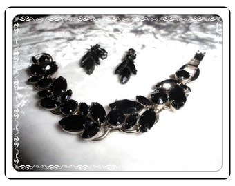 D&E Black Bracelet Demi - Always Stylish Vintage  Juliana  Black Bracelet and Earring    Demi-994a-060514000